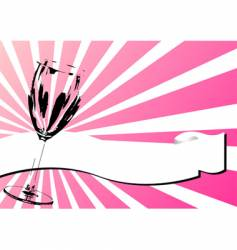 glass and banner over pink vector image