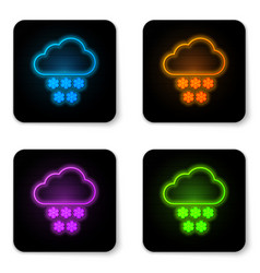 glowing neon cloud with snow icon isolated on vector image