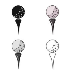 golf ball on tee icon in cartoon style isolated on vector image