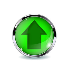 Green 3d button with up arrow vector