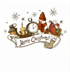 Hand-drawn Christmas Invitation Card vector
