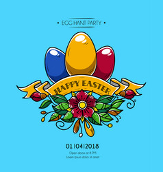Happy easter poster invitation to party vector