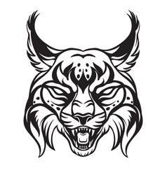 Head mascot lynx isolated on white vector