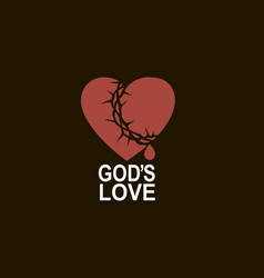 heart and crown thorns vector image
