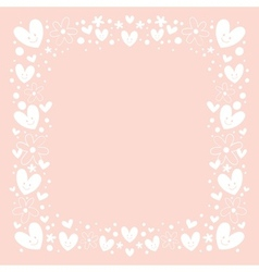 Hearts and flowers frame border background vector