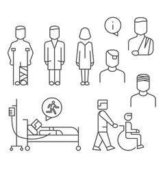 Hospital patients line icons set isolated on white vector