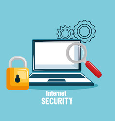 Internet security concept flat icons vector
