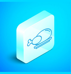 Isometric line roasted turkey or chicken icon vector