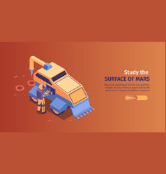isometric mars colonization horizontal banner vector image