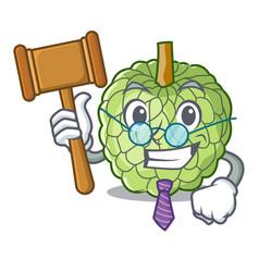Judge ripe sugar apple fruit on mascot vector