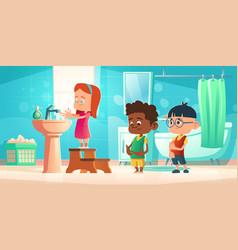 kids wash hands in bathroom children hygiene vector image