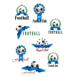 Large set of football emblems vector image