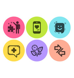 Leaves smile and love chat icons set medical vector