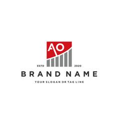 Letter ao chart financial logo design vector