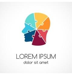 Logo puzzle human face template Modern vector