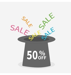 Magic hat Sale background Big sale 50 off vector