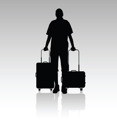 Man with travel bag silhouette silhouette vector