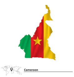 Map of Cameroon with flag vector