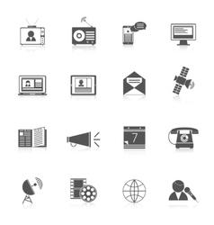 Media icons black set vector image vector image