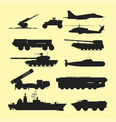 Military army transport technic war tanks vector