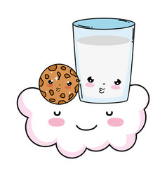milk glass with cookie kawaii character vector image