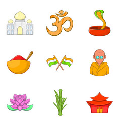 mosque icons set cartoon style vector image