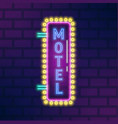 Neon glowing signboard with motel sign vector