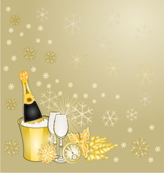 New Year gold greeting card vintage vector image vector image