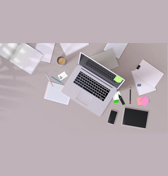 Office desk realistic mockup with modern devices vector