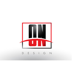 on o n logo letters with red and black colors and vector image