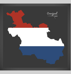 Overijssel netherlands map with dutch national vector