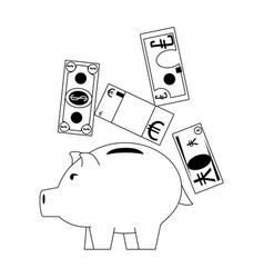 Piggy money savings and investment symbols vector