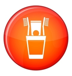 Plastic cup with brushes icon flat style vector