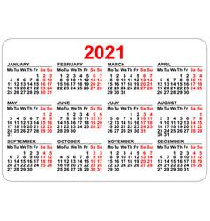 Pocket calendar 2021 grid template isolated on vector