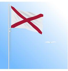 realistic flag of alabama usa against blue sky vector image