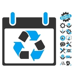 Recycle Calendar Day Icon With Bonus vector image