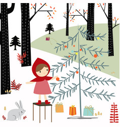 Red hood girl in the spring forest vector