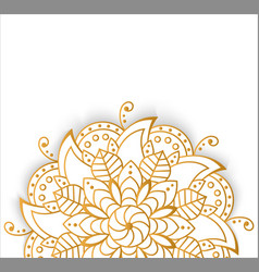 Round gold mandala on white isolated background vector