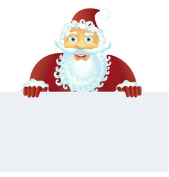 santa claus standing with christmas banner vector image