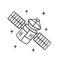 Satellite linear icon sputnik artificial object vector