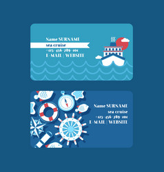 Sea cruise adventure set business cards vector