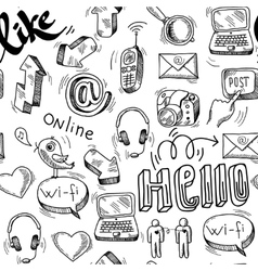 Seamless doodle social media pattern background vector