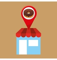 selling fresh donuts vector image