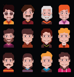 set 12 avatar icons isolated on black vector image