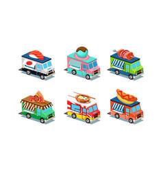 set food trucks in modern 3d style vans vector image
