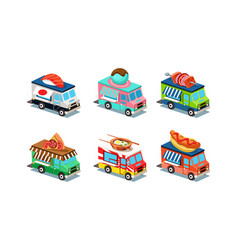 set of food trucks in modern 3d style vans with vector image