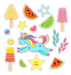 set of summer stickers-colorful ice cream unicorn vector image