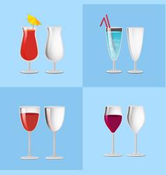 set refreshing cocktails empty transparent glasses vector image