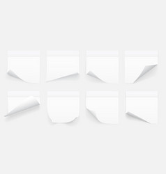 set white sheets note paper isolated on vector image