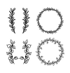 sketch of floral elements vector image